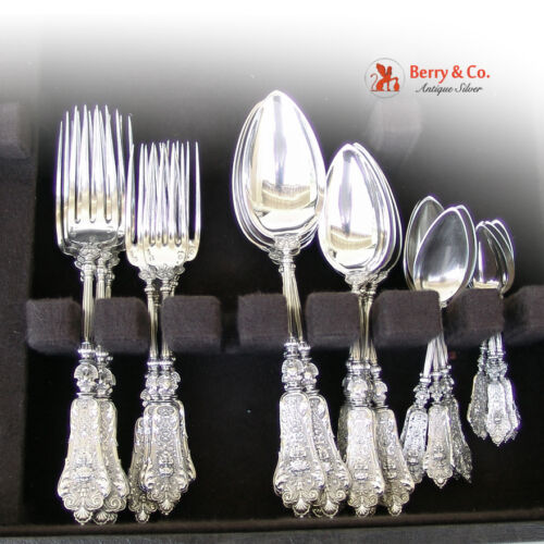 Renaissance Revival Dinner and Luncheon Flatware Set 800 Silver 1900
