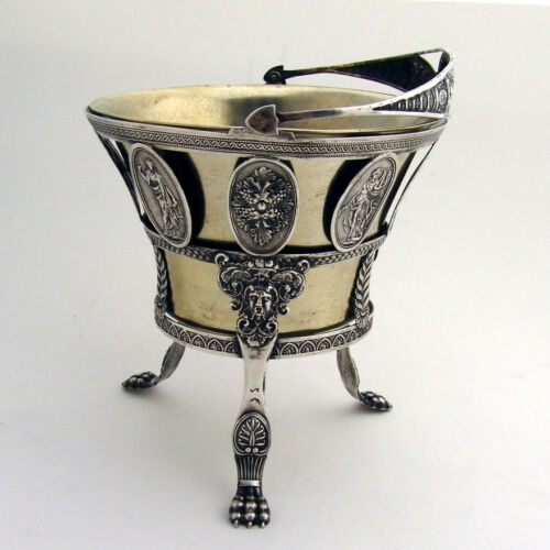 Medallion Swing Handle Footed Basket 800 Silver 1860