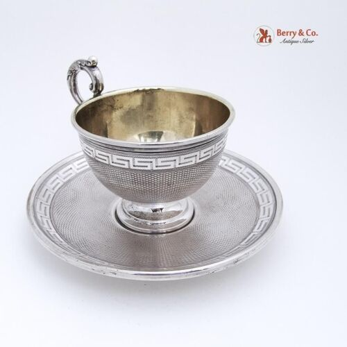 Cup and Saucer Greek Key 1890 German 875 Silver
