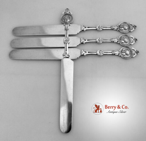 Medallion Schulz And Fischer Set of 4 Flat Knives Sterling Silver 1870