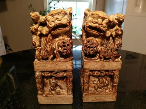 Rare Anicent Carved Stone Foo Dog Book Ends