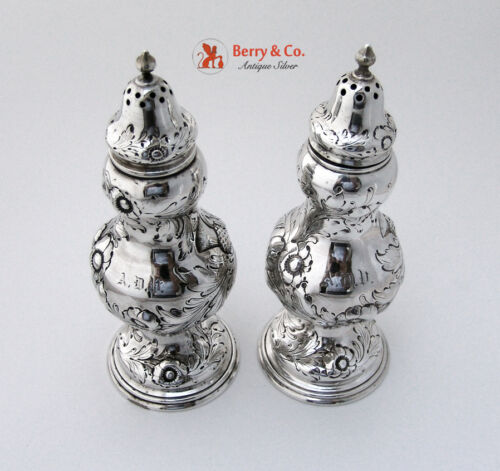 Thistle Salt and Pepper Shakers 1850 Robert Rait John C Moore Coin Silver