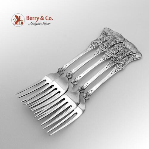 Flat Rose Luncheon Forks 830 Standard Silver 5 Pieces Magnus Aase 1930