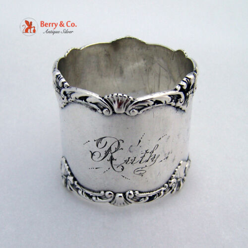 Shell Scroll Napkin Ring Howard Sterling Silver Queen 1898 Ruth