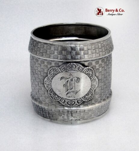 Basket Weave Napkin Ring Coin Silver Wood and Hughes 1875 Monogram L