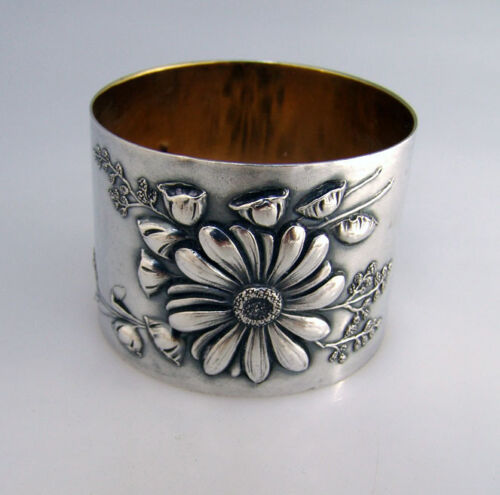 Floral Repousse Silver Napkin Ring 1890