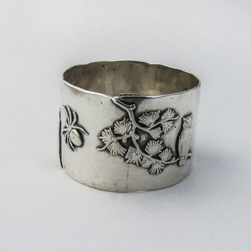 Shiebler Sterling Dragonfly Owl Spider Bamboo Napkin Ring NY 1880