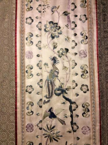 ANTIQUE 19/ 20th c QI'ING CHINESE EMBROIDERED SILK PANEL SLEEVE BAND EMBROIDERY!