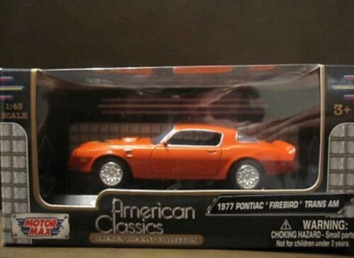 1:43 Pontiac Firebird Trans Am 1977 Coupe Orange Modèle Voiture 73846 Motormax