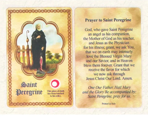 Saint St. Peregrine with Relic and Prayer - RELIC - Paperstock Holy Card