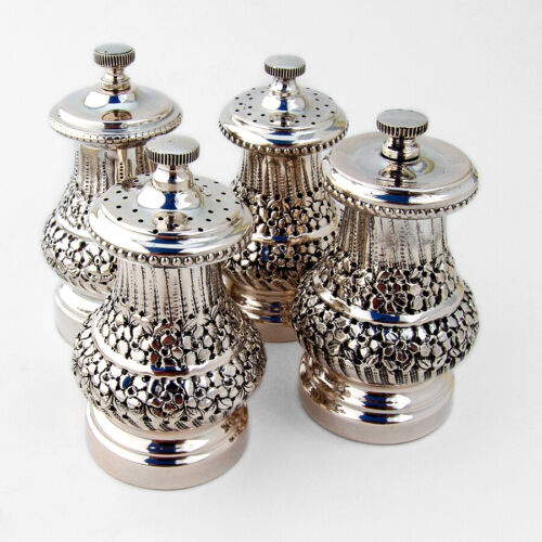 Ornate Pepper Grinders and Salt Shakers 4 800 Silver