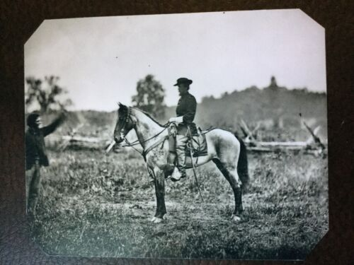 Large Civil War Military Soldier Mounted On Horse tintype C780NP