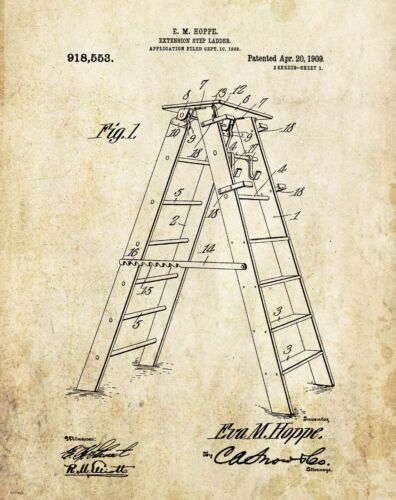 House Painter Builder Patent Art Print  Ladder Painting Contractor Office Decor