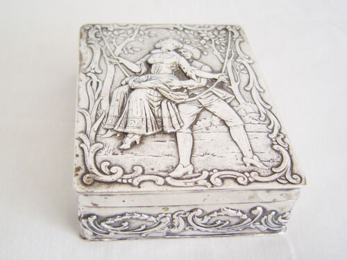 Beautiful Classically decorated  German Silver Card holder Box 800 silver
