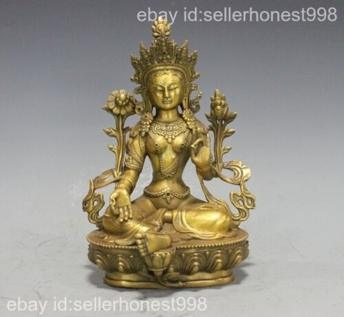 China Tibet Buddhism Green Tara Kwan-Yin Buddha Pure Copper Brass statue