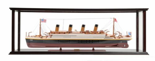 """Titanic Ocean Liner Model 32"""" White Star Cruise Ship w/ Table Top Display Case"""