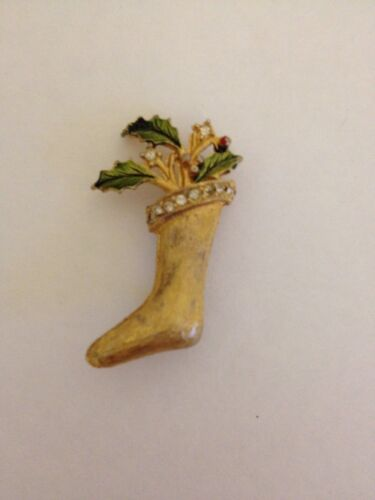 Vintage Goldtone Christmas Stocking Brooch Pin