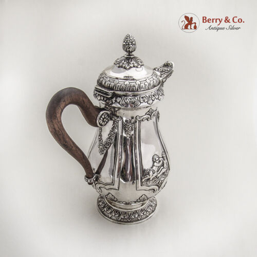 Ornate Pitcher Baroque Repousse Style Sterling Silver 1870-1890