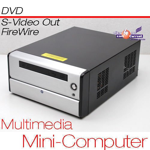 Small Pc CPU 1,6 Ghz S-VIDEO Tv-Out 80gb HDD 1 Gb Ram DVD 12 V Power Supply Mm