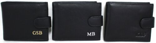 Personalized Monogrammed Wallet. Gold, Silver or Black Embossed. RFID  Leather.