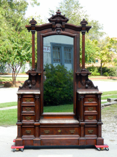 Outstanding Walnut Victorian Marble Top Drop Center Dresser~Brown Marble