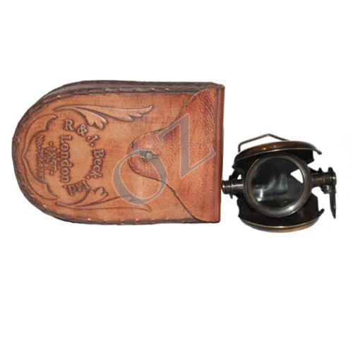 NAUTICAL ANTIQUE BRASS R & J BECK LONDON 1857  MONOCULAR WITH  LEATHER CASE