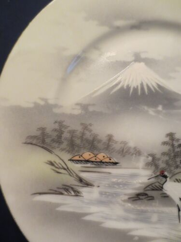 10 ANTIQUE PLATES WITH MOUNT FUJI & HERONS  MORIAGE HAND PAINTED SIGNED