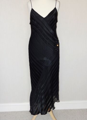 Rene Derhy Black Silk Ladies Dress - Cocktail/Races/Cruise/Party, Size M (12)