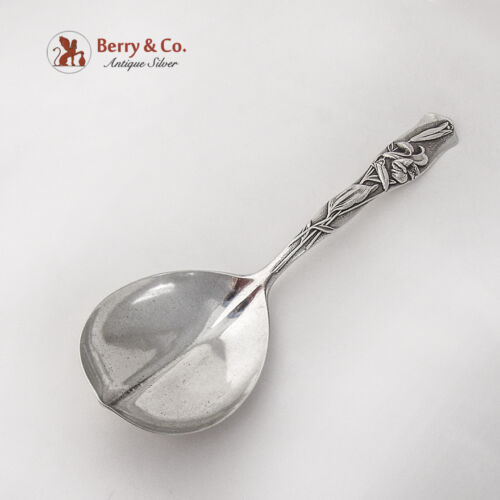 Flora Easter Lily Pudding Berry Spoon Shiebler Sterling Silver Pat 1889