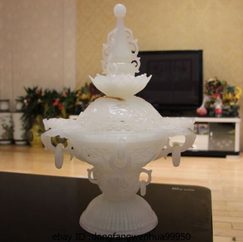 Chinese Buddhism Royal Palace White Jade Carved Lucky Vase Incense Burner Censer