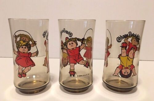 Vintage set of 3 Smoked Glass Cabbage Patch Kids 10 oz Drinking Glasses 1984