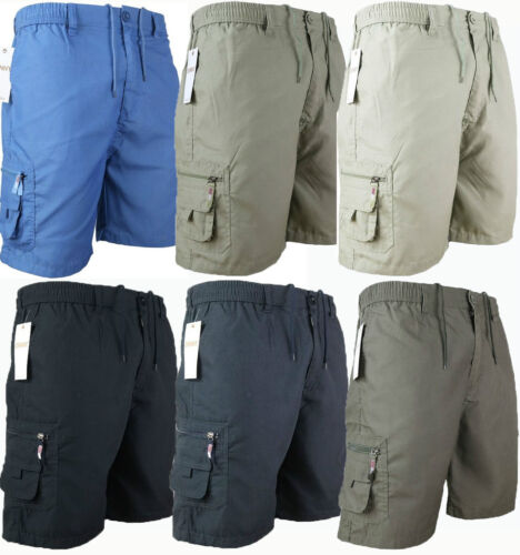 MENS PLAIN ELASTICATED SHORTS COTTON CARGO COMBAT SUMMER HOLIDAY PANTS NEW <br/> Best Quality,Above knee-Mens cargo shorts