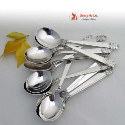 Northern Lights 12 Cream Soup Spoons Sterling Silver International 1946