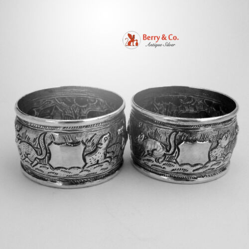 Indian Colonial Napkin Rings 2 Repousse Sterling Silver 1900 No Monograms