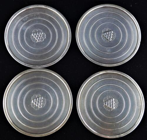GEORG JENSEN STERLING SILVER COASTER SET (4) - DENMARK 193 - ONE WITH GI MARK