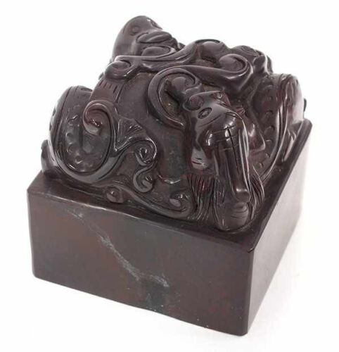 "Chinese Red Soapstone Seal surmounted by Dragon Pair 4""lhw"