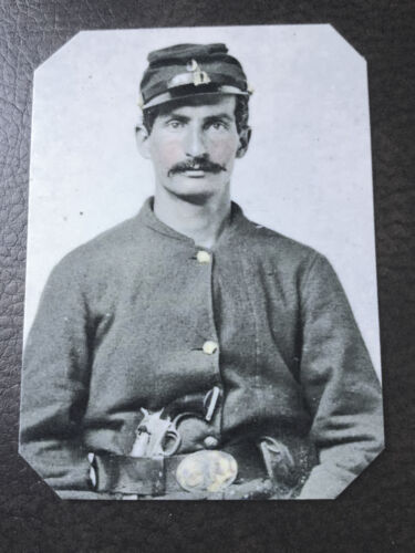 Civil War Military Soldier With Pistol tintype C501RP