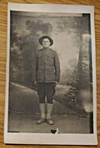 ANTIQUE REAL PHOTO WWI MILITARY FRENCH SOLIDER FRANCE ADVERTISING POSTCARD France - 13964