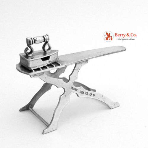 Dutch Sterling Silver Miniature Ironing Board With Iron 1920