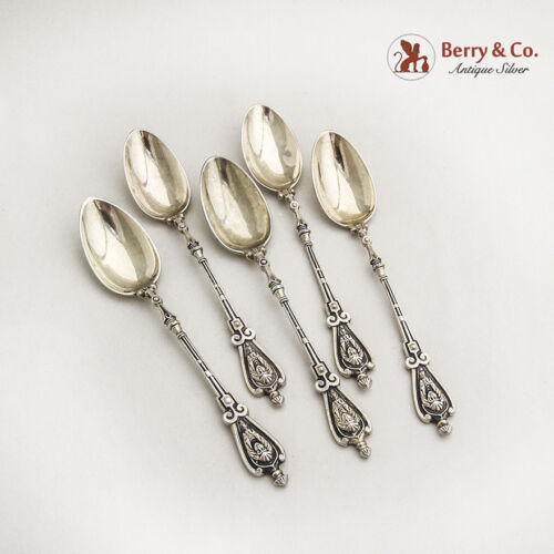Demitasse Spoons 5 Renaissance Revival 800 Silver Hungary 1890