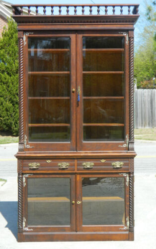 Tiger Oak Step-back China Cabinet~Bookcase~Display Cabinet circa 1890