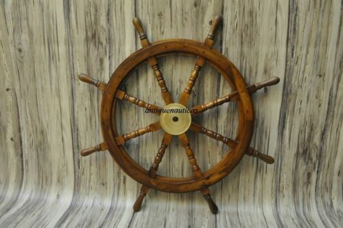 Wooden Ship Steering 36 Inch Wheel Pirate Wall Boat Decor Wooden Brass Fishing