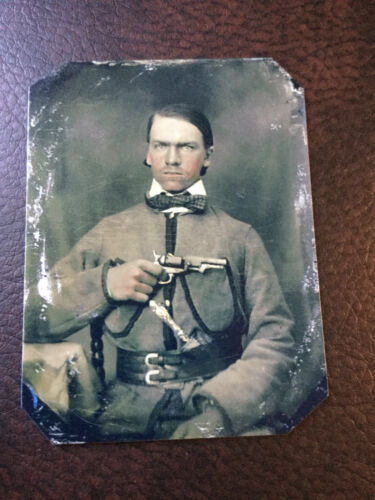 CW Military Soldier With Pistol tintype C946RP