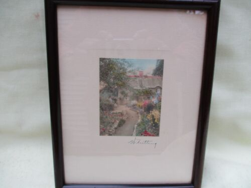"Vintage Wallace Nutting Signed Colored Photo Art ""Garden of Larkspur"", Framed"