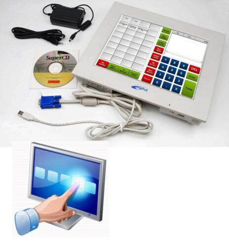 """Digipos 30.5 cm 12 """" Display & USB Touch Screen for Windows XP Win 7 8 32 &"""