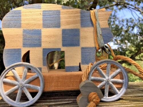 Antique Primitive CHECKERBOARD PIG Pull Toy Metal Wheel Doll Country Blue Decor