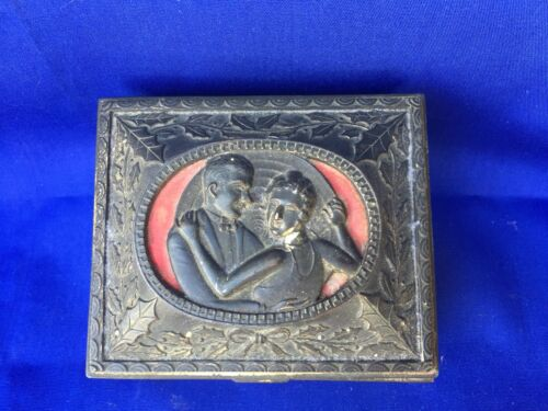 Scarlett O'hara Rhett Butler Gone With The Wind Antique Cameo Metal Jewelry Box
