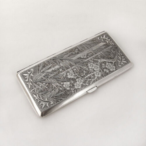Large Cigarette Case Box 950 Sterling Silver Bamboo Cherry Blossom Engravings