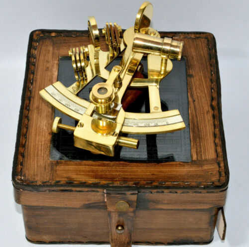 4'' BRASS VINTAGE SEXTANT WITH VICTORIAN TRAVELLING LEATHER  BOX Maritime GiftS