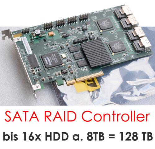 16x S-ATA Raid Pcie Controller LSI 3ware 9650se/16ml 8xCABLE Hdds To 64 TB HDD
